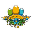 holiday eggs decorated of ribbon and flowers vector image