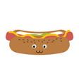 hot dog fast food cute kawaii cartoon vector image vector image