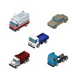 isometric car set of lorry auto freight and vector image vector image