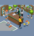 isometric office of future concept vector image vector image