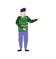 merry christmas man with green ugly sweater vector image vector image