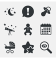 Moon and stars Baby infant icon Buggy dummy vector image vector image