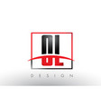 ol o l logo letters with red and black colors and vector image vector image