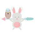 owl bird and rabbit with feathers hat and arrow vector image