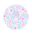 pattern with lion and tropical flowers vector image vector image