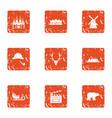 polar icons set grunge style vector image