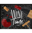 poster wine time black vector image vector image