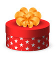 present in rounded box with star print wrapping vector image vector image