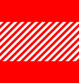 red and white stripes diagonally sign size vector image vector image