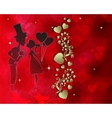 Red design with silhouette of lovers vector image vector image