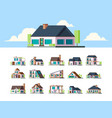 residential houses suburban townhouse buildings vector image vector image