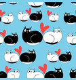 seamless funny pattern enamored cats vector image vector image