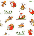 seamless pattern from cartoon santa claus reindeer vector image