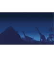 Silhouette of two brachiosaurus with star vector image vector image