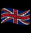 waving british flag mosaic of herbal leaf icons vector image