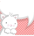 White cute little kitty baby comic bubble vector image