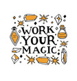 wiccan symbols work your magic lettering vector image vector image