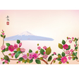 Fuji Cherry blossoms spring has come vector image
