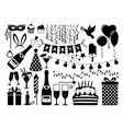 party black icons set vector image