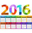 2016 year color calendar template Flat design vector image vector image
