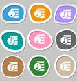 Audio MP3 file icon sign Multicolored paper vector image