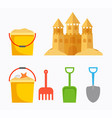 beach sand castle with children bucket sand vector image vector image