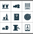 beverages icons set with beer tower beer in hand vector image vector image