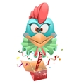 Blue head Rooster clown jumps out of box vector image