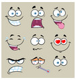 cartoon funny face with expression collection - 2 vector image vector image