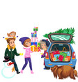 cartoon smiling family carrying bunch of presents vector image vector image