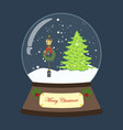 christmas snow globe with tree and lantern vector image vector image