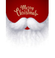 closeup white santa beard with merry christmas vector image vector image