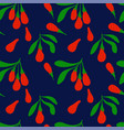 colorful seamless pattern with goji berries vector image vector image