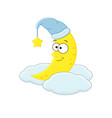 cute cartoon moon in the hat on the cloud vector image vector image