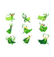 eco superhero characters in action set young men vector image