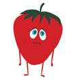 emoji sad strawberry or color vector image vector image