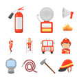 fire department cartoon icons in set collection vector image vector image