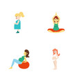 flat icon pregnancy set of pregnant woman vector image
