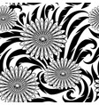 flowers seamless pattern black and white vector image vector image