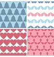 Four matching bold shapes seamless patterns vector image