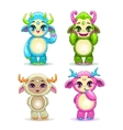 Funny cartoon fluffy baby monsters set vector image