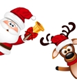 Funny Santa and Reindeer on white background vector image vector image
