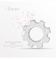 gear digitally drawn low poly wire frame on white vector image vector image
