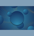 golden curved waves and blue circles abstract vector image