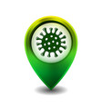 green map point with coronavirus vector image vector image