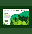 green nature landing page flat design template vector image vector image
