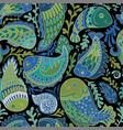hand drawn seamless pattern with paisley fish vector image