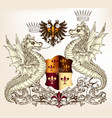 heraldic design with dragons and shield vector image vector image