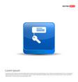 key chain icon - 3d blue button vector image