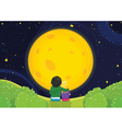 Kids sitting under moonlight vector image